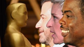 Previous Oscars hosts Jimmy Kimmel, Ellen DeGeneres and Chris Rock facing the Oscars statuette