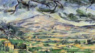 Parte de uno de los cuadros de Cézanne con el monte de Sainte-Victorie.