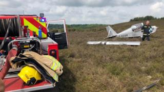 Aircraft after forced landing in New Forest