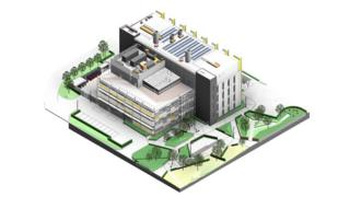 An image showing the planned health and life sciences building