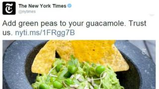 A New York Times tweet about pea guacamole that went viral