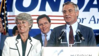 Geraldine Ferraro and Walter Mondale campaign at the Democratic Convention circa 1984 in San Francisco.