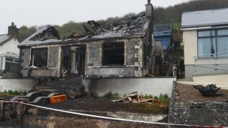 Five fire engines attended the blaze at the house