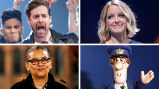 Clockwise from top left: Kaiser Chiefs, Lauren Laverne, Postman Pat, Lubaina Himid