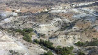 An aerial view of scrubby, sand coloured landscape divided by dry channels