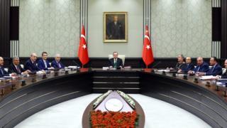cumhurbaşkanı Erdoğan'ın başkanlık ettiği Milli Güvenlik Kurulu toplantısından.