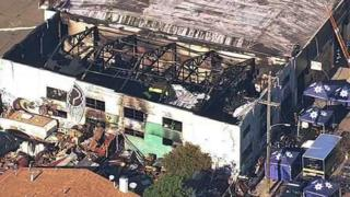 A warehouse in California after a deadly fire