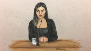 Court drawing of Safaa Boular at the Old Bailey