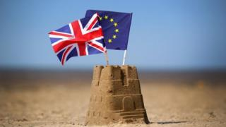 Eu and union flag on Southwold beach