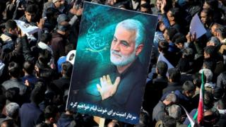 Iranian mourners gather during the final stage of funeral processions for slain top general Qasem Soleimani