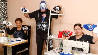 Unable to compete due to coronavirus restrictions, El Hijo de Soberano is making masks with his family