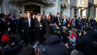 Gina Miller talking to the media outside the Supreme Court