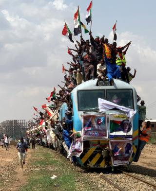 People on a train in Khartoum
