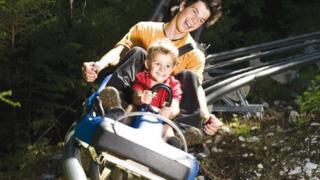 The 'alpine coaster' is described as an 'elevated toboggan'