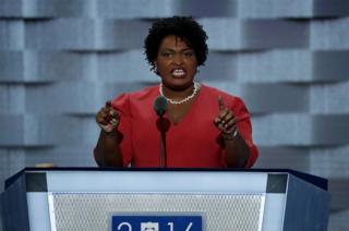 Ms Abrams spoke at the 2016 Democratic convention