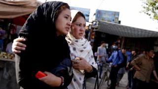 Women at the scene of a bomb attack in Kabul, Afghanistan, 15 August 2018