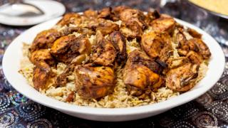 A traditional Emirati dish called chicken machboos in Dubai