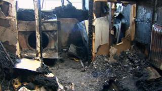 Fire damage in the flat of Bernard Hender and Doug McTavish in Conwy