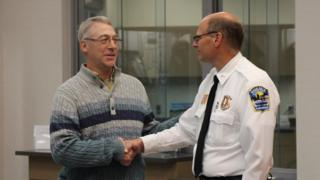 Earl Melchert (left) who helped rescue 15-year-old kidnapping victim Jasmine Block, with Police Chief Richard Wyffels of Alexandria, Minnesota