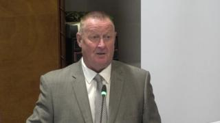 Retired firefighter Alan Moore gives evidence