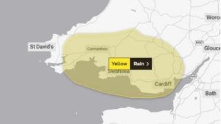 Map of the weather warning
