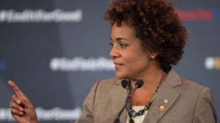 """Michaëlle Jean, la secrétaire générale de la Francophonie, a jugé """"navrant de voir ce qui se déroule en République démocratique du Congo""""."""