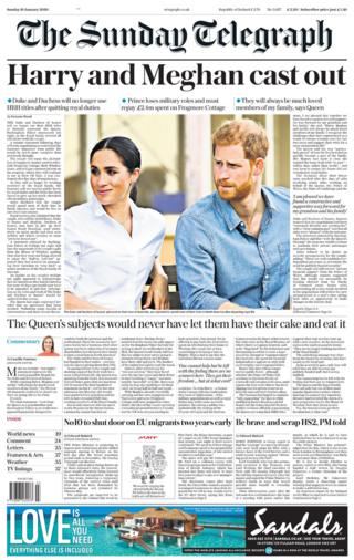 Sunday Telegraph front page 19/01/20