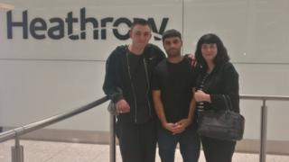 Samim Bigzad was met at Heathrow aiport