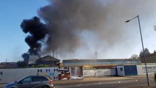 Fire at Southend United's football ground