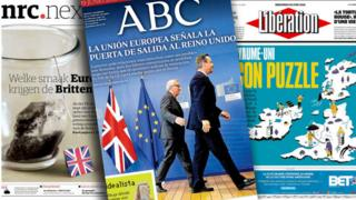 Front pages of some European newspapers