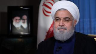 Mr Rouhani sits for a television interview in Iran