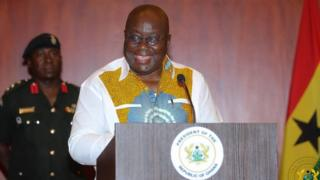 President Akufo-Addo for di meet the press session for Ghana
