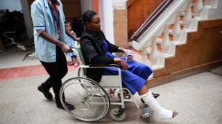 One of the injured students from the Strathmore University, when she was taken to Nairobi West hospital for treatment, after police conducted a terror drill in the learning institution in Nairobi, Kenya, 30 November 2015