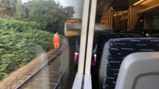 Damaged train on track
