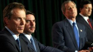 Tony Blair, George W.Bush and the Spanish prime minister Jose Maria Aznar at a crunch meeting in the Azores in the final days before the March 2003 invasion