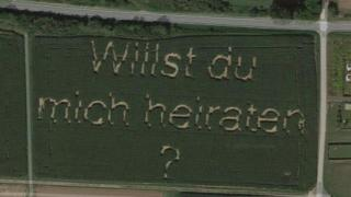 """A screenshot from Google Maps shows the words """"Willst du mich heiraten?"""" (""""Do you want to marry me?"""") spelled out in a field of corn"""