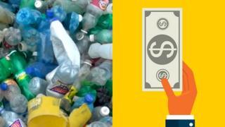 Composición con basura de plástico