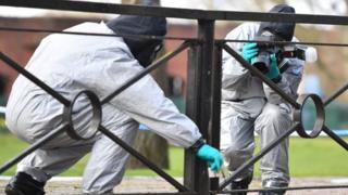 Personel in protective gear in Salisbury in March 2017
