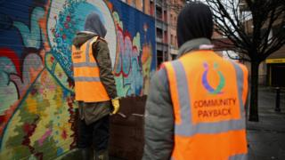 People working on a Community Payback scheme in Manchester