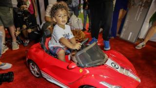 Asahd Khaled is seen enjoying his 2nd Birthday carnival themed party at Marlins Park on October 13, 2018 in Miami, Florida