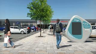 Illustration of new look retail park
