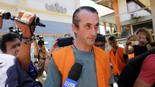 David Taylor arrives at court in Bali