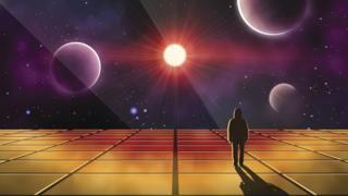 Ilustração de pessoa observando o sol e os planetas