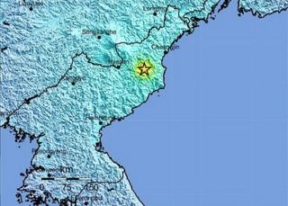 USGS map showing site of tremor in North Korea