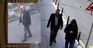 Jamal Khashoggi and a man dressed like him - except for the shoes