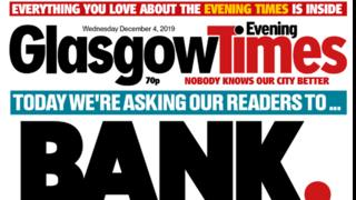 Front page of Glasgow Times newspaper