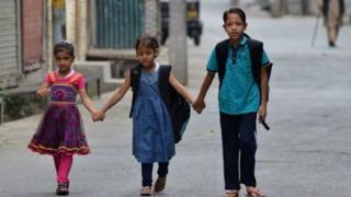کشمیر میں سکول کے بچے