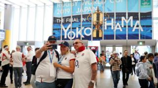 England fans at Yokohama station ahead of the final