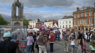 Hundreds of people are attracted to the town square for the annual Devizes May Fair