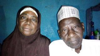Old woman and man wey just marry